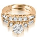 1.60 cttw. 14K Rose Gold Baguette and Round Diamond Bridal Set - Thumbnail 0