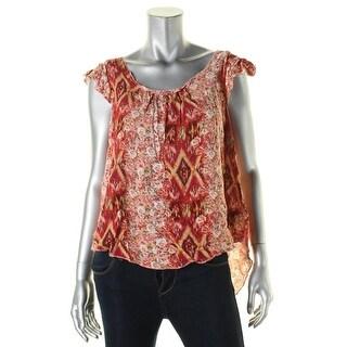Belle du Jour Womens Juniors Pullover Top Floral Print Ruffled - XL