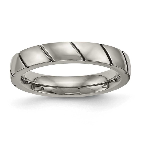 Titanium Polished Grooved Ring (4 mm)