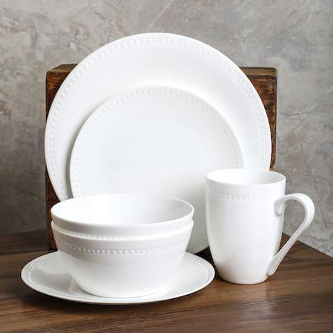 Stone Lain Ava Bone China Round Pinpoint Texture Round Dinnerware Set