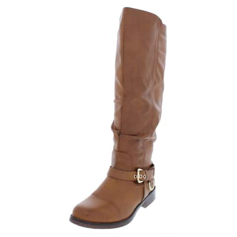 XOXO Womens Mauricia Mid-Calf Boots Faux Leather Buckle
