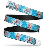 Frozen Logo Full Color Blues Frozen Elsa Face Action Pose Snowflakes Blues Seatbelt Belt