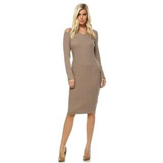 Taline Cut-Out Shoulder Midi Sweater Dress - Beige