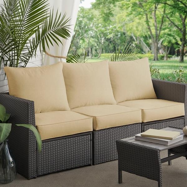 Clara Sunbrella Outdoor Wicker Sofa 6-piece Cushion Set. Opens flyout.