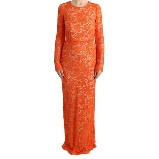Dolce & Gabbana Dolce & Gabbana Orange Floral Ricamo Sheath Long Dress - it42-m