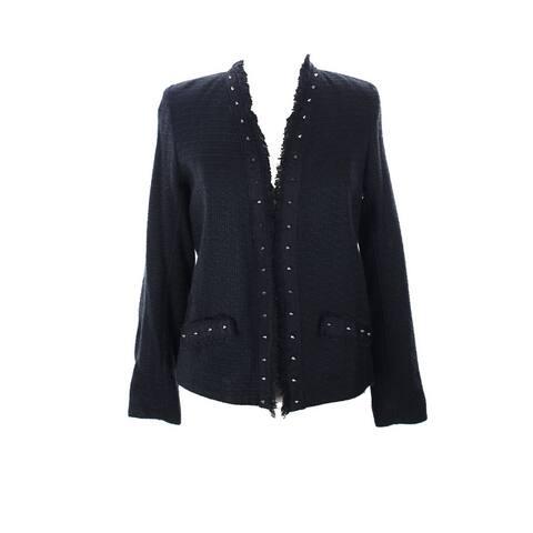 Aqua Black Textured Silver Stud Open Front Jacket L