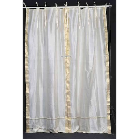 Cream Tie Top Sheer Sari Curtain / Drape / Panel - Piece