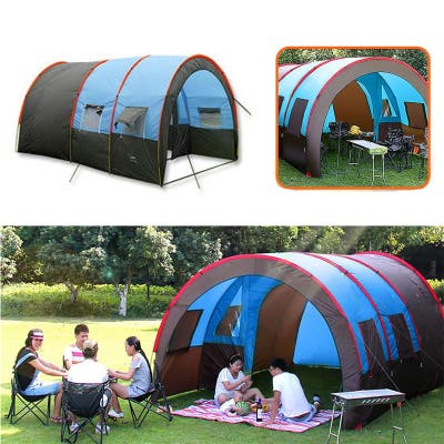 Extended Tent Camping 5-8 Person Weatherproof Durable With Carry Bag