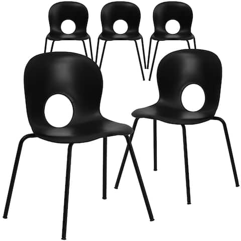 5 Pack 770 lb. Capacity Designer Plastic Stack Chair