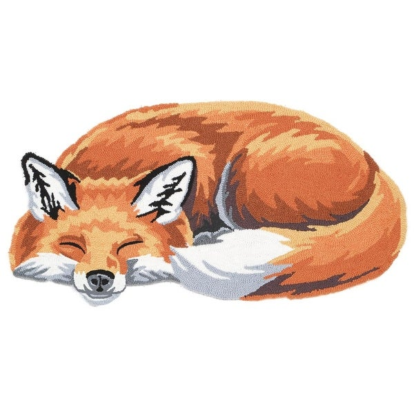 Sleeping Fox Hand-Hooked Accent Rug - Exclusive From What On Earth - 20 in. x 36 in.
