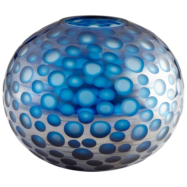 "Cyan Design 09645 Toreen 11-3/4"" Diameter Glass Vase - Blue"