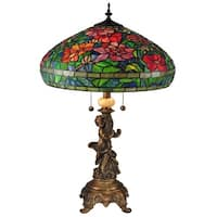 """27.5"""" Vintage Victorian Style Tiffany Table Lamp with Spring Flowers Designed Shade - Green"""