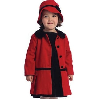Angles Garment Toddler Little Girls Red Classic Coat Hat Set 2T-8