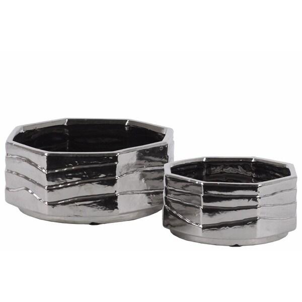 Ceramic Octagonal Pot With Polished Chrome Finish, Set of 2, Silver