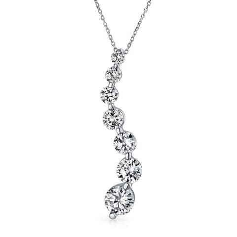 2.5 CT Solitaire CZ Love is a Journey Pendant Sterling Silver Necklace - 16