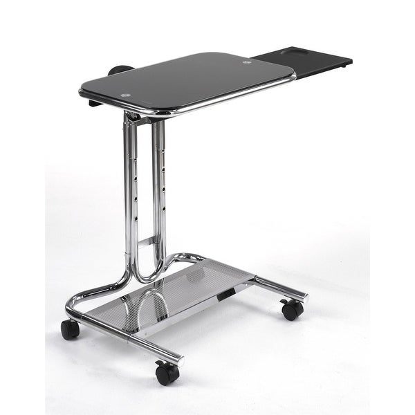 Mobile Laptop Computer Desk Cart with Black Glass Top. Opens flyout.