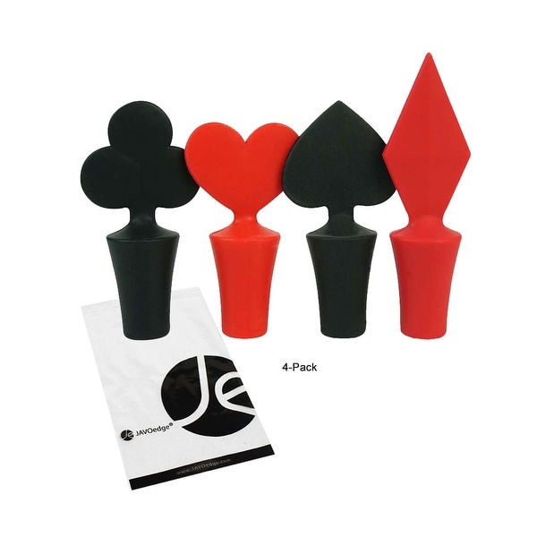 JAVOedge Card Suits, Wine and Beverage Bottle Stoppers - (Set of 4) - hearts, diamond, club, spade