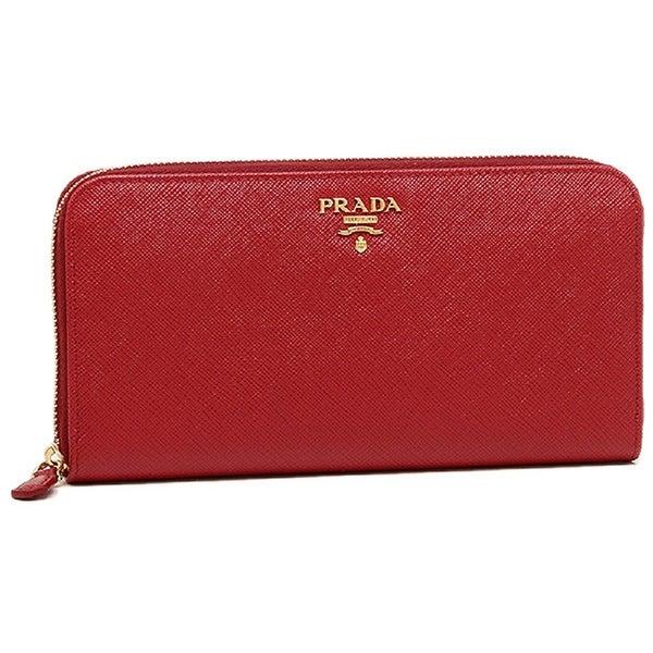 Prada Womens Saffiano Wallet Red