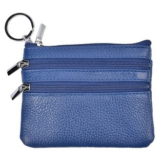 Womens Mini Coin Purse Wallet Genuine Leather Zipper Pouch With Key Ring