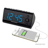 Magnasonic USB Charging Alarm Clock Radio for Smartphones & Tablets with Dual Alarm, Battery Backup & Auto Time Set