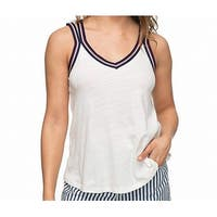 Roxy White Multi Womens Size XS Sunset Lovers Striped Tank Cami Top