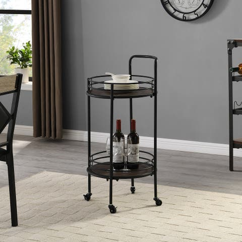 FirsTime & Co. Industrial Joliet Round Bar Cart, American Crafted, Black, Metal, 16 x 16 x 33.5 in