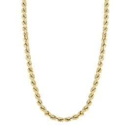 MCS JEWELRY INC 10 KARAT YELLOW GOLD HOLLOW ROPE CHAIN NECKLACE 3MM