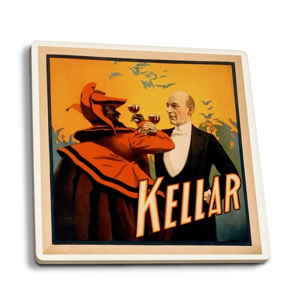 a34e8b58d6 Kellar Magician Drinking Wine with the Devil - Vintage Theater Advertisement  (Set of 4 Ceramic