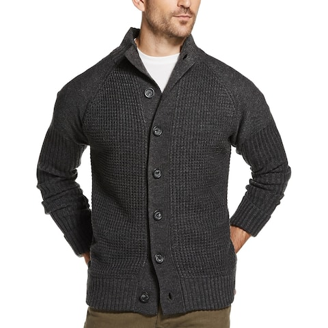 Weatherproof Mens Sweater Gray Size Large L Knitted Button Up Cardigan