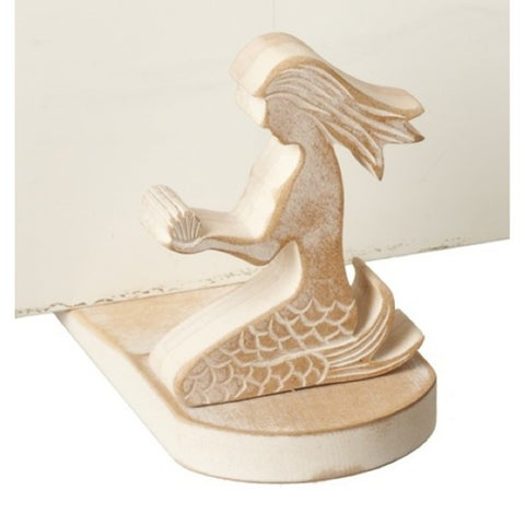 Mermaid Shaped Wood Doorstop Whitewashed
