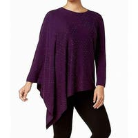 Anne Klein Purple Womens Size 2X Plus Embellished Pullover Sweater