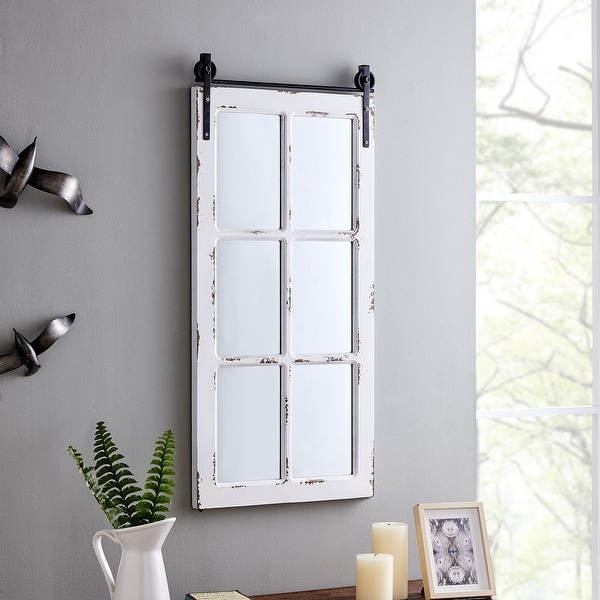 FirsTime & Co.® Saddlebrook Farmhouse Window Mirror, American Crafted, Aged White, Mirror, 17 x 1 x 36 in - 17 x 1 x 36 in. Opens flyout.