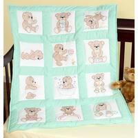 "Stamped White Nursery Quilt Blocks 9""X9"" 12/Pkg-Teddy Bears"