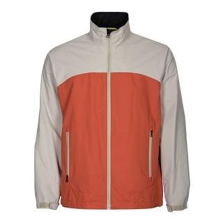 Perry Ellis Portfolio Windbreaker Jacket Beige and Orange Colorblock Large L