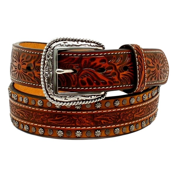 Ariat Western Belt Mens Tooled Conchos Studs Floral Tan