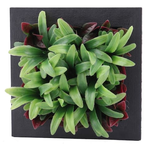 Home Bedroom Plastic Square Wall Hanging Artificial Grass Plant Decor Frame - Red