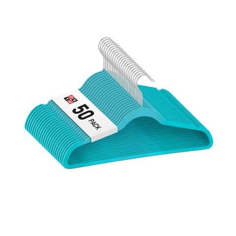 """OSTO Blue Velvet Non-Slip Standard Adult Hangers 50-Pack - 18"""" wide"""