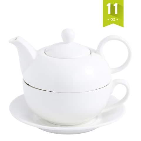 MALACASA, Series Sweet.Time, Porcelain White Teapot 11Oz Tea Set for One Teacup and Saucer Set - 6.5
