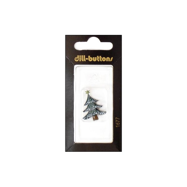 Dill Buttons 25mm 1pc Shank Tree w/Star Green