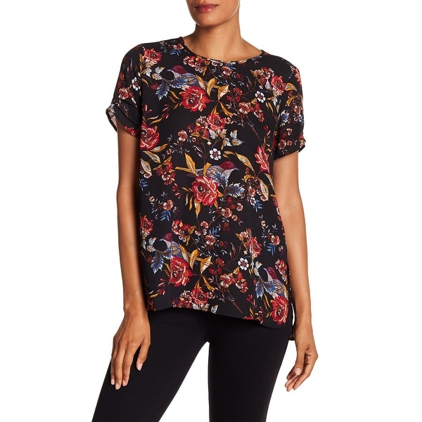 2277671ae85b9c Shop DR2 Black Womens Size Small S Floral Print Chiffon High Low Blouse -  Free Shipping On Orders Over $45 - Overstock - 27992218