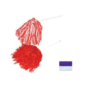 Pack of 48 White and Purple Gametime Pom Pom Poly Shakers - 512 Strands