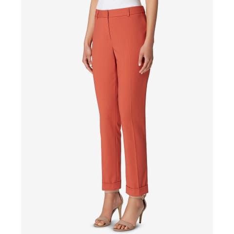 Tahari by ASL Women Dress Pants Terracotta Orange Size 14 Cropped Cuffed