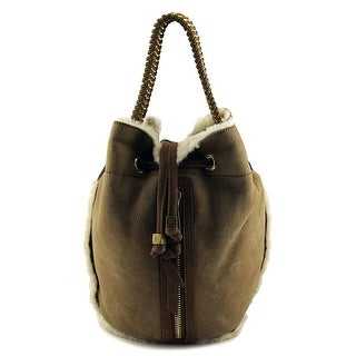 Tory Burch Shearling Small DrawstringBag Women Leather Tote - Brown