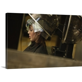 Premium Thick-Wrap Canvas entitled A woman getting her hair done