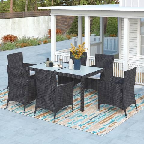 7-piece Outdoor Wicker Dining Set Conversation Set Patio Furniture
