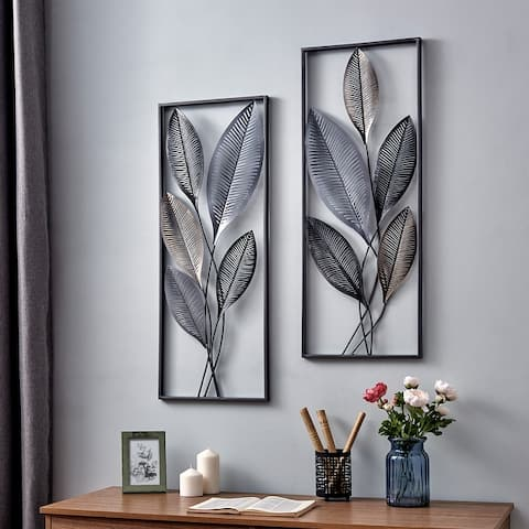 FirsTime & Co.® Metallic Leaves Wall Decor Set, American Crafted, Antique Gold, Metal, 14 x 1.5 x 35.5 in - 14 x 1.5 x 35.5 in