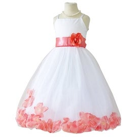 Flower Girl Dresses Rose Petal Wallao White (Baby - 14) Coral Guava