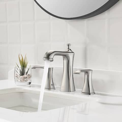 8inch Widespread Bathroom Sink Faucet Brushed Nickel Double Handles 3 Holes Deck Mounted