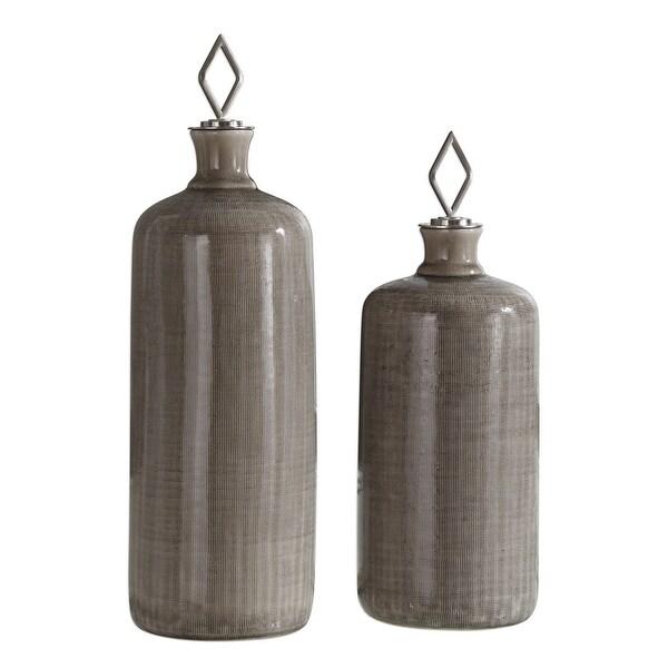 "11"" Taupe Dhara Glaze Bottles Set of 2 - N/A"