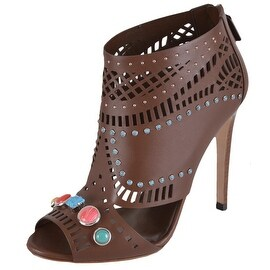Gucci Women's Laser Cut Leather Jeweled Lifford Ankle Booties Shoes 4.5 34.5